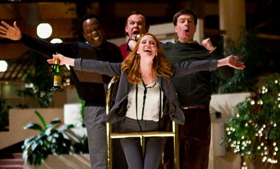 "The unlikely group of friends (left-to-right: Isiah Whitlock, John C. Reilly, Anne Heche, & Ed Helms) in ""Cedar Rapids""."