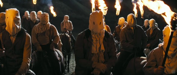 The hysterically clumsy, utterly doomed Klansmen depicted in DJANGO UNCHAINED (2012).